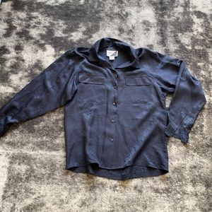 Black Silky Paisley Long Sleeve Blouse